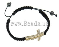 Free shipping!!!Brass Shamballa Bracelets,Elegant, with Wax Cord & Non-magnetic Hematite, with rhinestone, black, nickel