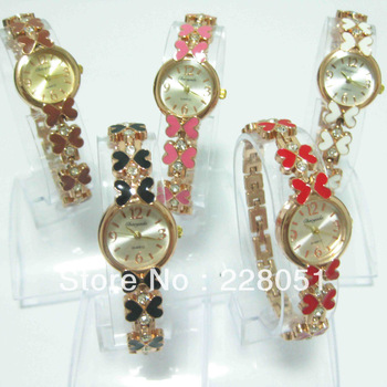 free shipping 1PCS/lot Mixed lots Round Face bowknot With diamond Alloy Band Lady women Girl Bracelet Quartz Watch  hot gift-c9