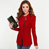 New 2014 women blazer Celebrity Style Biker Style Asymmetrical Zipper Blazers Suit Jacket Blazer women's Plus Size 9813