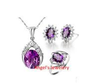 Angel's Jewelery, Fine Amethyst Jewelery Set with Ring/Pendant/Earring, Amethyst Jewelery with Gems