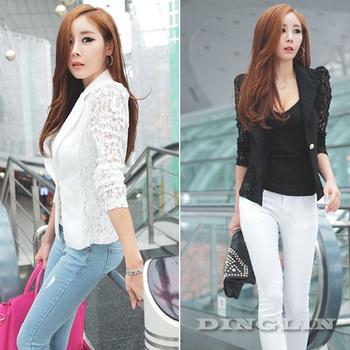 Fashion Women's Ladies Sheer Flower Lace Patchwork Slim Fit White Black OL Top Blazer Blouse Jacket Size S M Free Shipping 0956