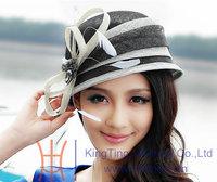 Free Shipping Elegant Women's New Kentucky Derby  Fashion Bow Ribbon Floppy Feathers Dress Sinamay Cloche Hat Black White