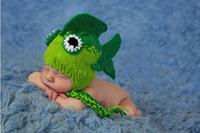 2013 Retail 100%handmade cartoon green fish design knitted Baby Crochet hat new born winter cap Baby photography,free shipping