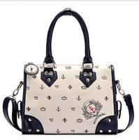 Big discount lady women leather retro tote bag shoulder handbag smiling face messenger bag navy wind #0139