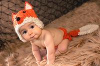 2013 Retail 100%handmade cartoon orange fox knitted Baby Crochet hat+tail new born winter cap Baby photography,free shipping