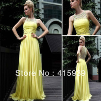 Free shipping elie saab design a line high collar beaded chiffon long evening dress women gown yellow WL180