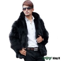 TX749 luxury fur coat winter warm faux fur coat for men hooded men's fur coat