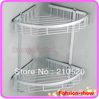 1pc Two Layer Space Aluminum Towel Washing Shower Basket Bar Shelf For Bathroom Rack