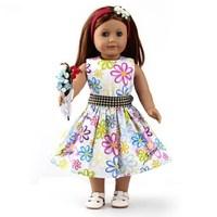 "Doll Clothes Fits 18"" American Girl Dolls, Doll Dress, Party Dress + Belt, 2pcs, Girl Birthday Gift, Xmas  Present, F32"