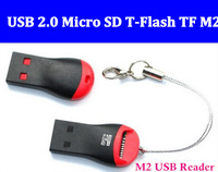 Wholesale Free Shipping High Speed USB 2.0 Micro SD T-Flash TF M2 Memory Card Reader adapter 32gb