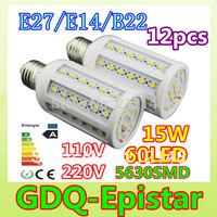 Free shipping 12x 15W 60LED 5630 SMD E27 High Power Corn Bulb Light Maize Lamp LED Light Bulb Lamp LED Lighting Warm/Cool White