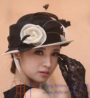 Women Hats For Church Winter Sinamay Hat Fashion Dress Elegant Women Mesh Two Colors Available White Rose Handmade Girl Hat