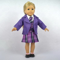 "Doll Clothes Fits 18"" American Girl Doll,Doll Dress,School Uniform, Coat + Shirt +Skirt + Tie,4pcs,Girl Birthday Present, G01"