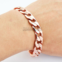 6Pcs/lot Fashion Jewelry 12mm Mens Womens Huge Curb Cuban Chain 18K Rose Gold Filled Bracelet Free Shipping Gold Jewellery GFB96