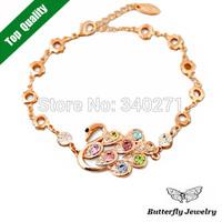 Top quality Alloy Shiny Rhinestone Cute Swan Bracelet 18K Gold Plated Charm Bracelet Women