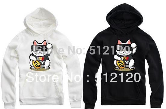 Freeshipping 2014 cartoon hoodies Fortune Cat printed hoodie lucky cat hoodies Sweatshirt with hood fleece hoodie 8 color(China (Mainland))