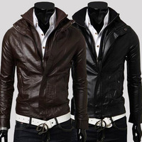 2013 spring casual small fresh male thin leather jacket outerwear slim motorcycle leather clothing male