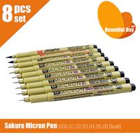 New arrival brush tip!!Higher Quality!! 8 pcs/lot Sakura Pigma Micron pen finliner 005 01 02 03 04 05 08 and Brush