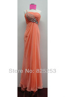 Hot Free shipping Real Sample Exquisite 2013 New Sexy A-Line One-Shoulder Chiffon Beads Blue Prom Evening Dress