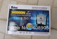 Free shipping! NEW  Black Diamond USB wifi adapter 360000N Ralink 3070 WEP WPA 3800mW 36dBi 150Mbps 3 High Gain Antenna