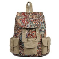 national trend floral canvas stylish backpacks for women fashionable book bags for college laptop computer bag