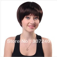 Qi chopped bangs short and straight fashion personality able temperament female wig / full wig wig red wine