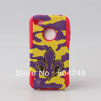 Free Shipping Hybrid Case Red Silicone+ Printing Zebra Mesh PC Design Case,Combo Case Silicone+PC Case for iphone 4G