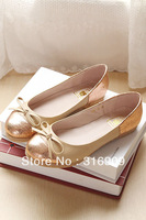 free shiping Plus size women's 2013 spring bow round toe flat-bottomed single shoes flats C1