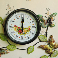 Butterfly  Creative Wall Clock  Wrought iron wall clock  Iron bell  Painted wrought iron  Crafts Watches  E3207027