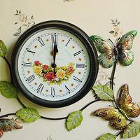 Butterfly  Creative Wall Clock  Wrought iron wall clock  Iron bell  Painted wrought iron  Crafts Watches  E3207027