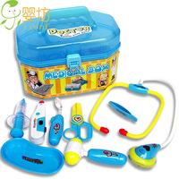 Free shipping interesting Simulation Medical Kit carry case yoy gift Kids doctor role Ppay set 9 piece/set