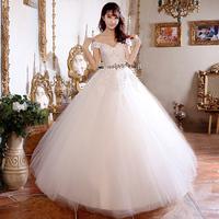Дешевые Свадебные платья без бретелек Белый кристалл плюс Размер свадебное платье сладкий кружева белый материнства свадебное платье