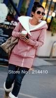 happy SZ  Korea Women Hoodies Coat Warm Zip Up Outerwear Sweatshirts 2 Colors Black Gray FWT0002