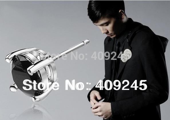 0.55cm stud men earings black,men jewelry(China (Mainland))