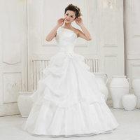 Free Shipping 2014 Fashion Sweet  Slim White One Shoulder  Princess  Bride Lace  Wedding Dress