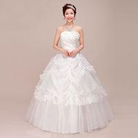 Free shipping 2014 Sweet  Princess Vintage Lotus Leaf  Flower Lace  Tube Top Wedding Dress Wholesale