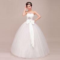 Free shipping 2014 Sweet Princess Rhinestone Decoration  Bow The Bride Slim Wedding Dress