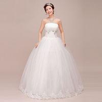 Free Shipping 2014 New Arrival  Fashion Women White High-quality Sweet Princess Sexy Tube Top Wedding Dress