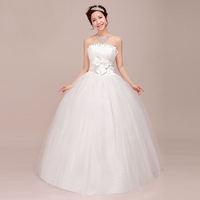 Free Shipping 2014 Newest Design  Sweet Princess Lace Flower  Sex Tube Top Bandage Wedding Dress