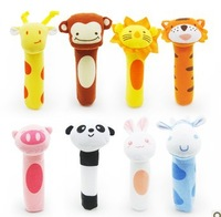 New 8pcs Animals Hand Puppet,Soft Plush Toy ,baby grasping dolls Rattles, Hand Dolls,Early Learning Baby Toys,Free Shipping