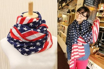 Hot sale 2013 Fashion Long USA Flag Print Silk Chiffon Scarf,American Stars Scarf Shawl (MIni order is$10)
