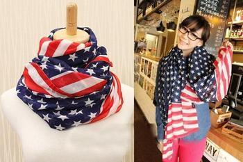 Hot sale 2013 Fashion Long USA Flag Print Silk Chiffon Scarf,American Stars Scarf Shawl (MIni order is$10)