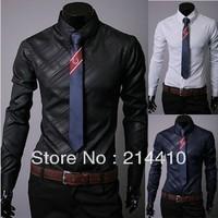 happy SZ  south Korean imports of dark grain twill fabrics men long sleeve shirt