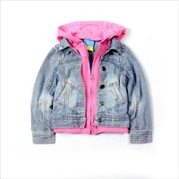 Children's clothing topolino mouse faux two piece with a hood child denim outerwear denim coat