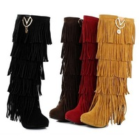 Western fringed boots fashion sexy new high-heeled women's platform knee-high boots size 32-43 frosted PU lazy 4 colors