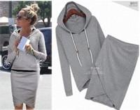 2 Pieces Sport Suit Women 2014 New Women's Hoodie+Skirt Suits Fashion Hooded Spring Suit Sweatshirt Casual Wear WE054