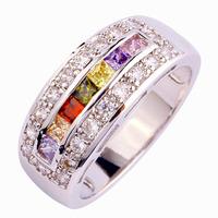 Wholesale Princess Cut Citrine Garnet Peridot White Sapphire 925 Silver Ring Size 7 8 9 10 Unisex Jewelry Rings Free Shipping