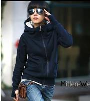 women autumn-winter big plus size velvet thickening turtleneck hooded set hooded sweatshirt outerwear woman warm winter coat