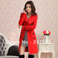 Free Shipping New Arrive Women Luxury Wool Blend Coats Red Double Breasted Slim Elegant Winter Women Clothing Wool Outwear 10093