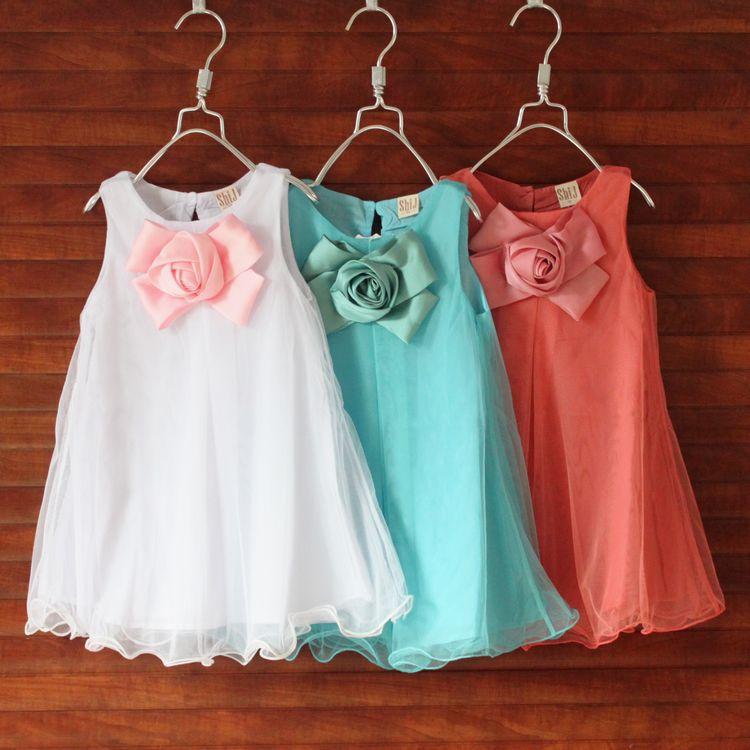 shij029 supernova sale christmas party summer cute flower girl dresses 3~7age girl dress baby clothing(China (Mainland))
